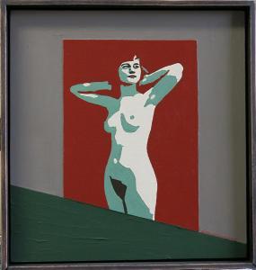 Naked posing woman-acryl on canvas on masonite-36x38cm