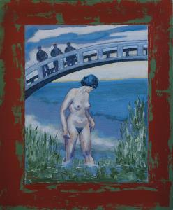 Bathing women by bridge. Canvas on masonite-acryl 41,5x50cm