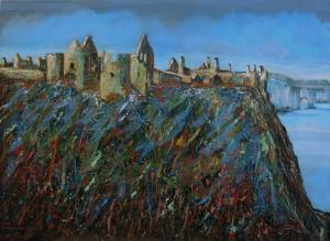 Dick Hogewoning-Dunluce castle-Ierland-Acryl/masonite-55x75cm