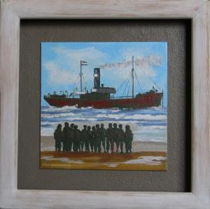 Shipwreck-Acryl on canvas on MDF-30x30cm