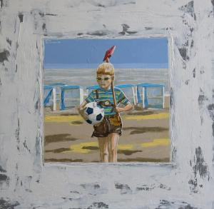 German boy on the beach of Katwijk. Acryl on MDF-49,5x49,5cm