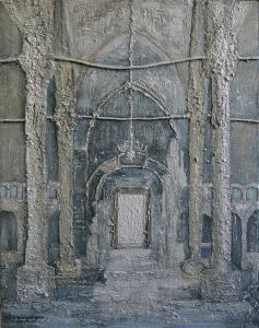 Church-Sand/glue and acryl- 60x77cm