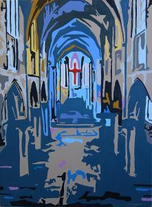 Kerk-Rood kruis -Acryl-canvas-60x80cm