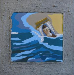 Captured- Acryl/sand with stones/canvas on board-40x40cm