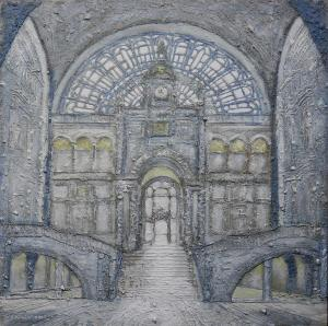 Station Antwerpen (Anvers)-80x80cm-Sand with glue and aryl on masonite