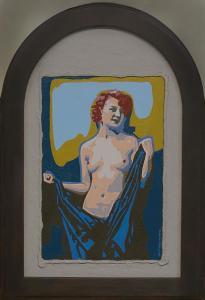 Half naked woman-Acryl/sand on canvas on hardboard. 23,5x37cm