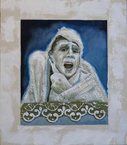 Sorrowfull-Acryl/curtain-canvas on MDF-43,5x49,5cm