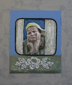 2-Sorrowfull-Acryl/curtain-canvas on MDF-43,5x49,5cm
