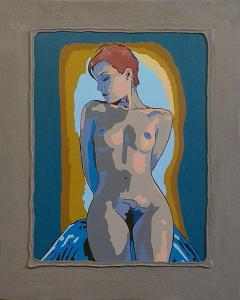 5-Naked woman posing-Acryl on canvas on wood-40x50cm